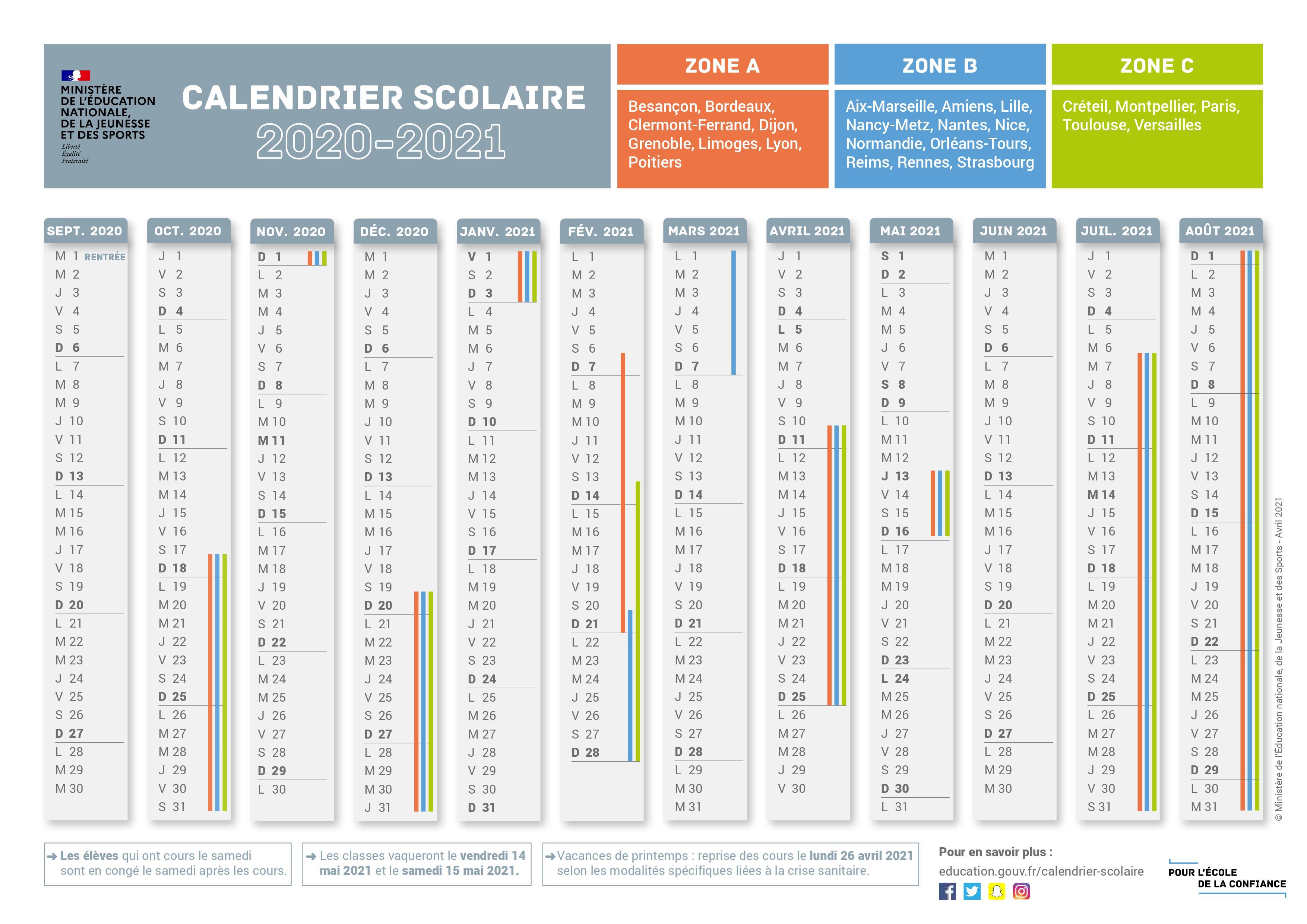 Calendrier des vacances scolaire 2020 2021